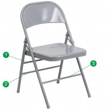 Flash Furniture HF3-MC-309AS-GY-GG HERCULES Series Triple Braced and Quad Hinged Gray Metal Folding Chair
