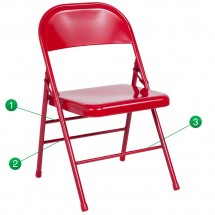 Flash Furniture HF3-MC-309AS-RED-GG HERCULES Series Triple Braced and Quad Hinged Red Metal Folding Chair