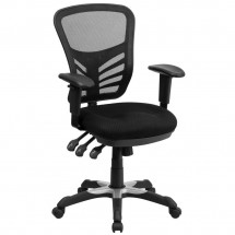 Flash Furniture HL-0001-GG Mid-Back Black Mesh Chair with Triple Paddle Control