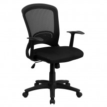 Flash Furniture HL-0007-GG Mid-Back Black Mesh Task Chair with Padded Mesh Seat