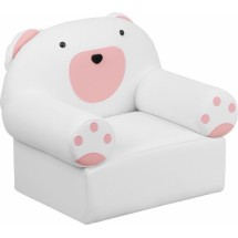 Flash Furniture HR-17-GG Kids Pink and White Vinyl Bear Chair