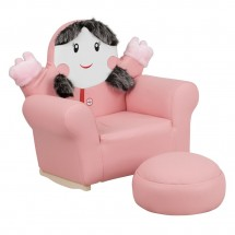 Flash Furniture HR-27-GG Kids Pink Little Girl Rocker Chair and Footrest