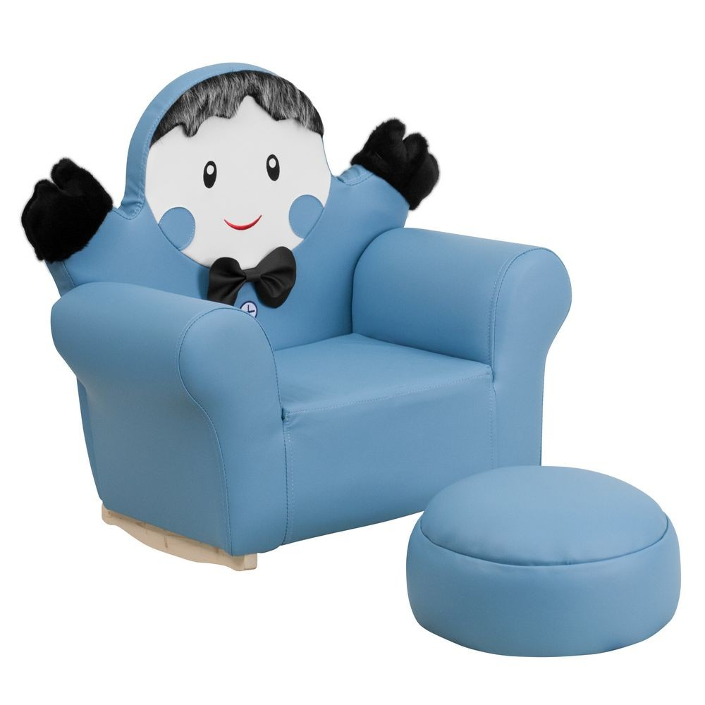 Flash Furniture HR-28-GG Kids Blue Little Boy Rocker Chair and Footrest