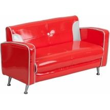 Flash Furniture HR-34-GG Red and White Kids Loveseat
