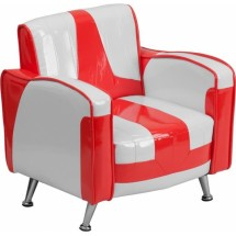 Flash Furniture HR-36-GG White and Red Kids Chair