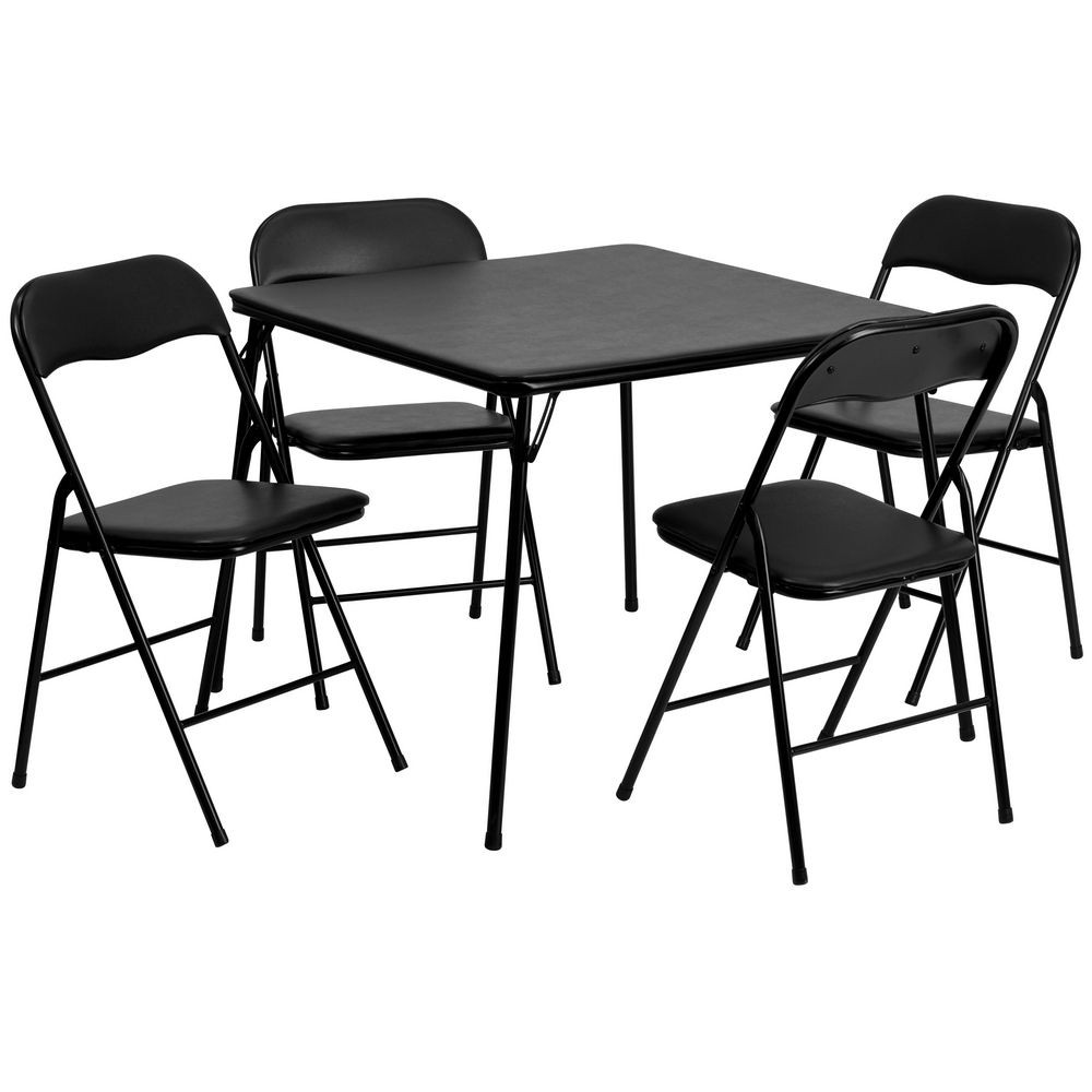 Flash Furniture JB-1-GG 5-Piece Black Folding Card Table and Chair Set
