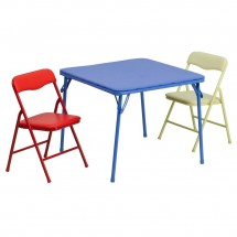 Flash Furniture JB-10-CARD-GG Kids Colorful Folding Table and Chair Set, 3 Piece
