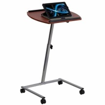 Flash Furniture JB-4-GG Angle and Height Adjustable Mobile Laptop Computer Table with Mahogany Top