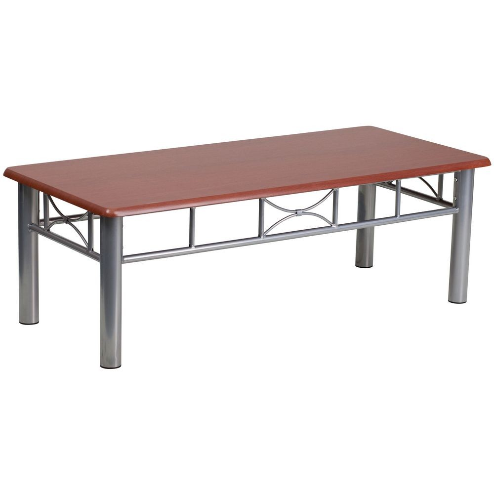 Flash Furniture JB-5-COF-MAH-GG Mahogany Laminate Coffee Table with Silver Steel Frame