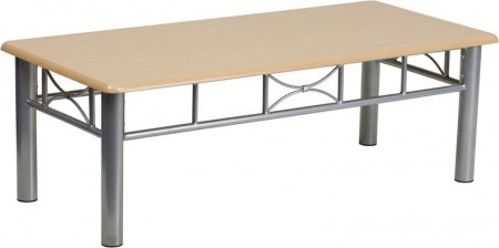 Flash Furniture JB-6-COF-NAT-GG Natural Laminate Coffee Table with Silver Steel Frame