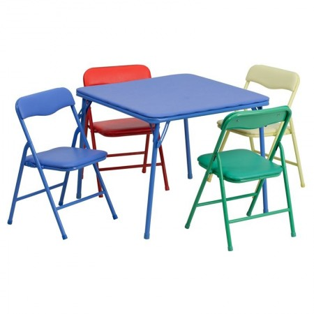 Flash Furniture JB-9-KID-GG Kids Colorful Folding Table and Chair Set, 5-Piece