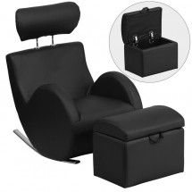 Flash Furniture LD-2025-V HERCULES Series Vinyl Rocking Chair with Storage Ottoman