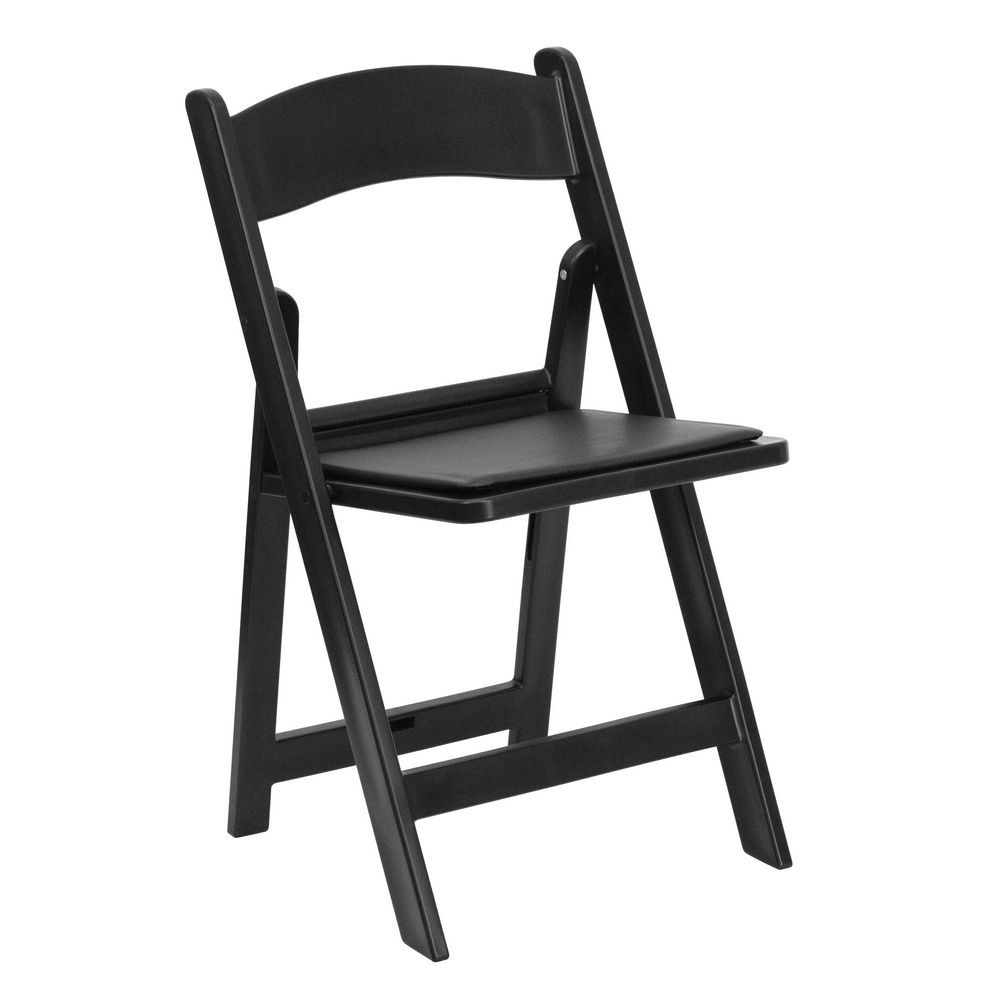 Flash Furniture LE-L-1-BLACK-GG HERCULES Series Black Resin Folding Chair with Black Vinyl Padded Seat
