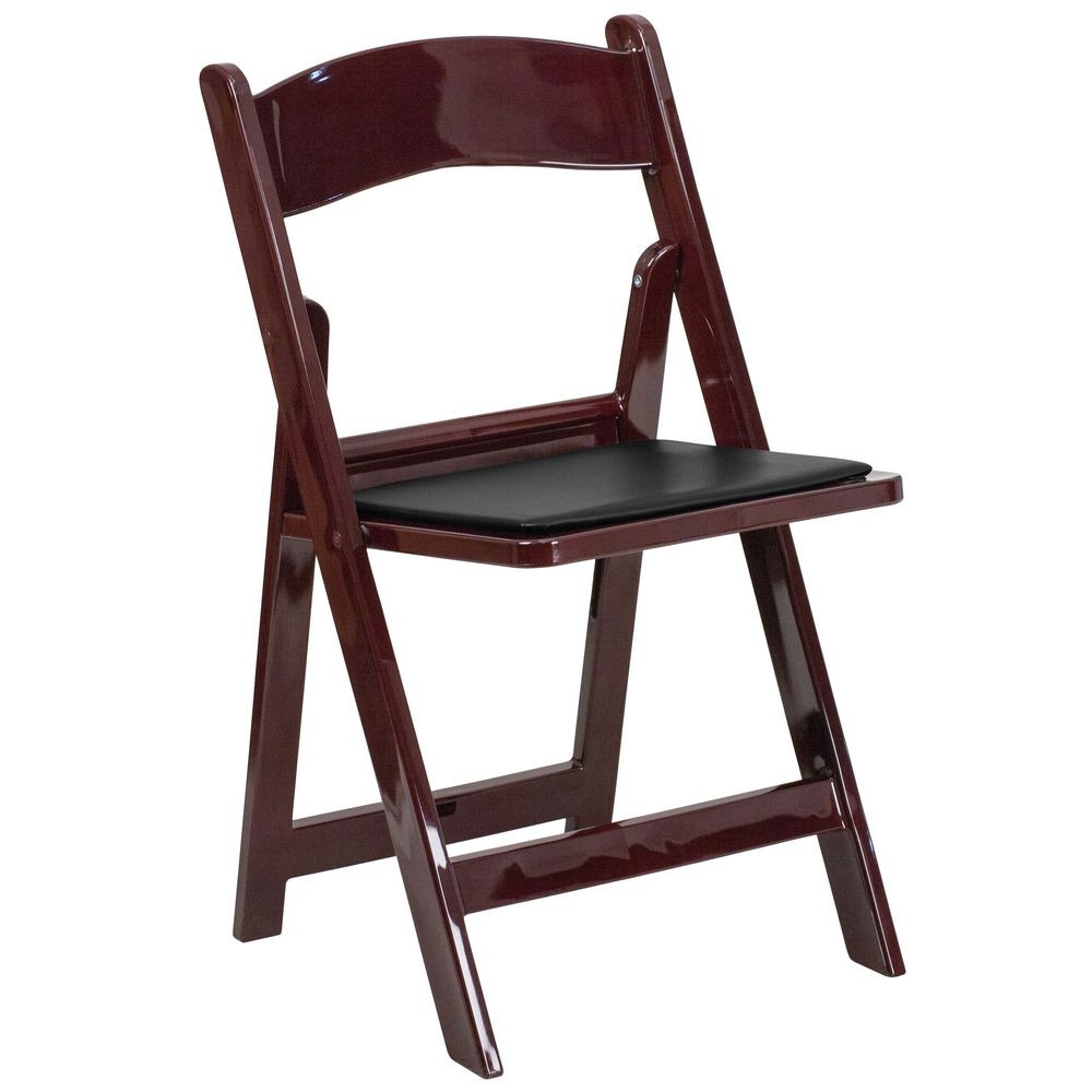 Flash Furniture LE-L-1-MAH-GG HERCULES Series Red Mahogany Resin Folding Chair with Black Vinyl Padded Seat
