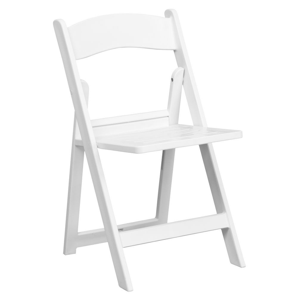 Flash Furniture LE-L-1-WH-SLAT-GG HERCULES Series White Resin Folding Chair with Slatted Seat