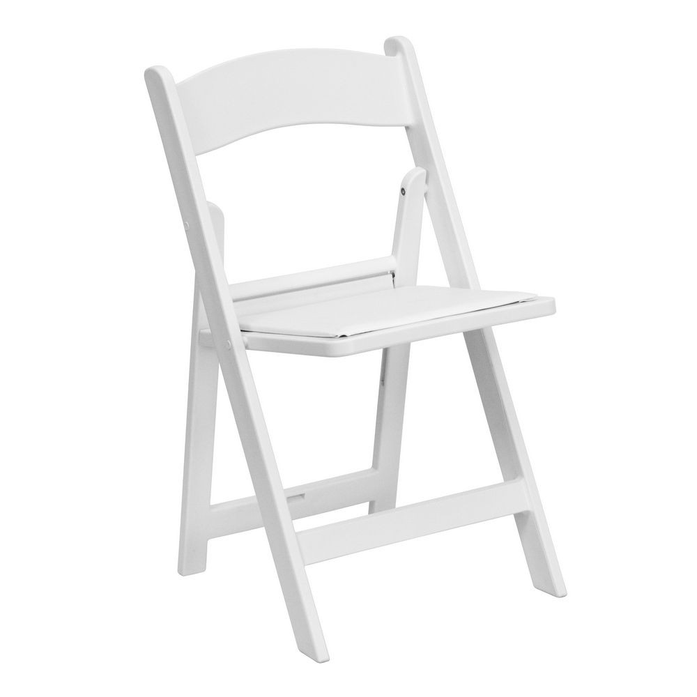 Flash Furniture LE-L-1-WHITE-GG HERCULES Series White Resin Folding Chair with White Vinyl Padded Seat