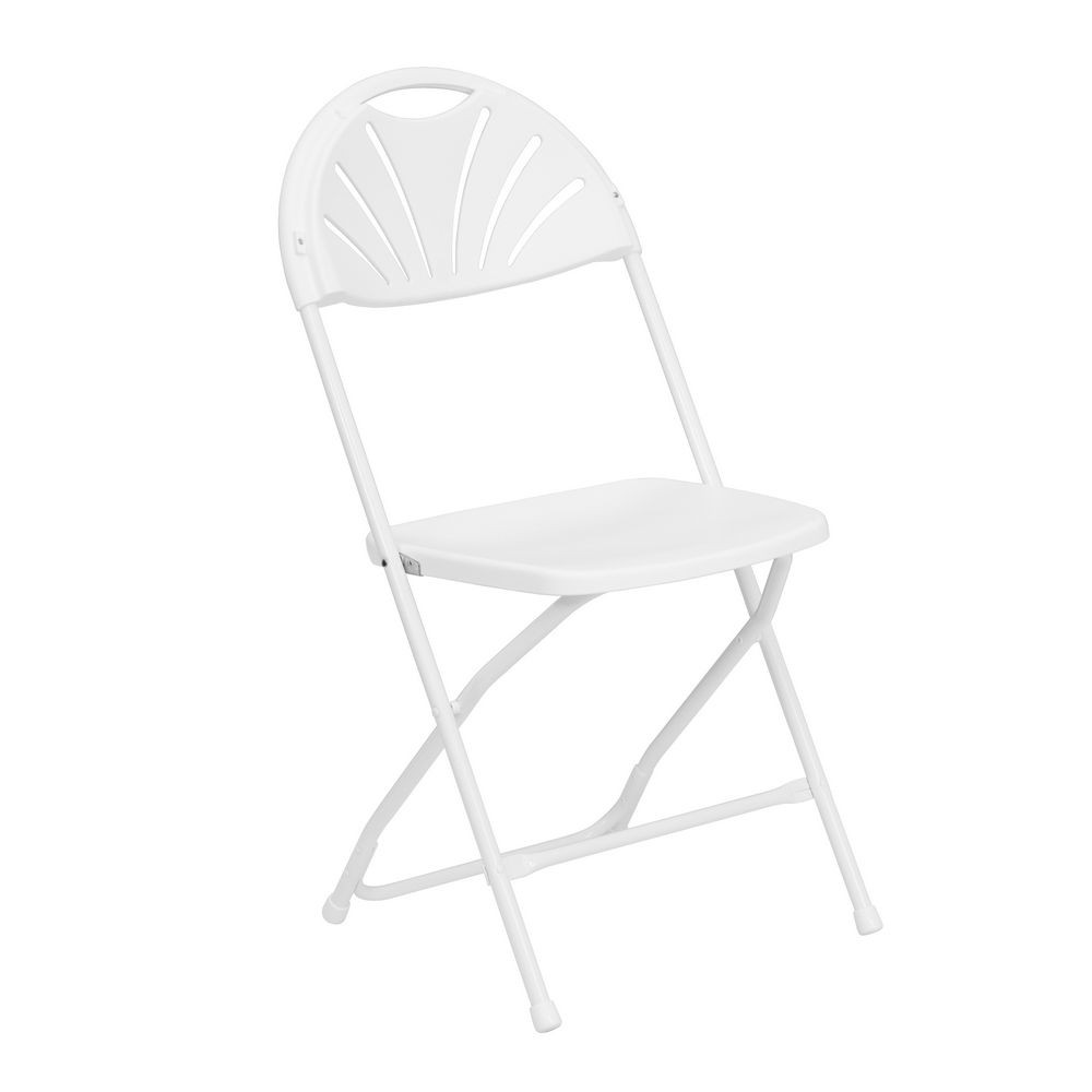 Flash Furniture LE-L-4-WHITE-GG HERCULES White Plastic Fan Back Folding Chair
