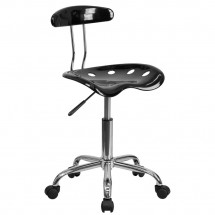 Flash Furniture LF-214-BLK-GG Black and Chrome Computer Task Chair with Tractor Seat