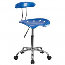 Flash Furniture LF-214-BRIGHTBLUE-GG Blue and Chrome Computer Task Chair with Tractor Seat