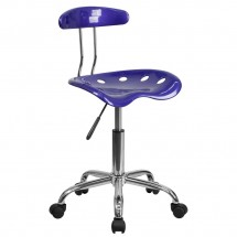 Flash Furniture LF-214-DEEPBLUE-GG Vibrant Deep Blue and Chrome Computer Task Chair with Tractor Seat