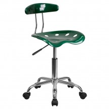 Flash Furniture LF-214-GREEN-GG Vibrant Green and Chrome Computer Task Chair with Tractor Seat