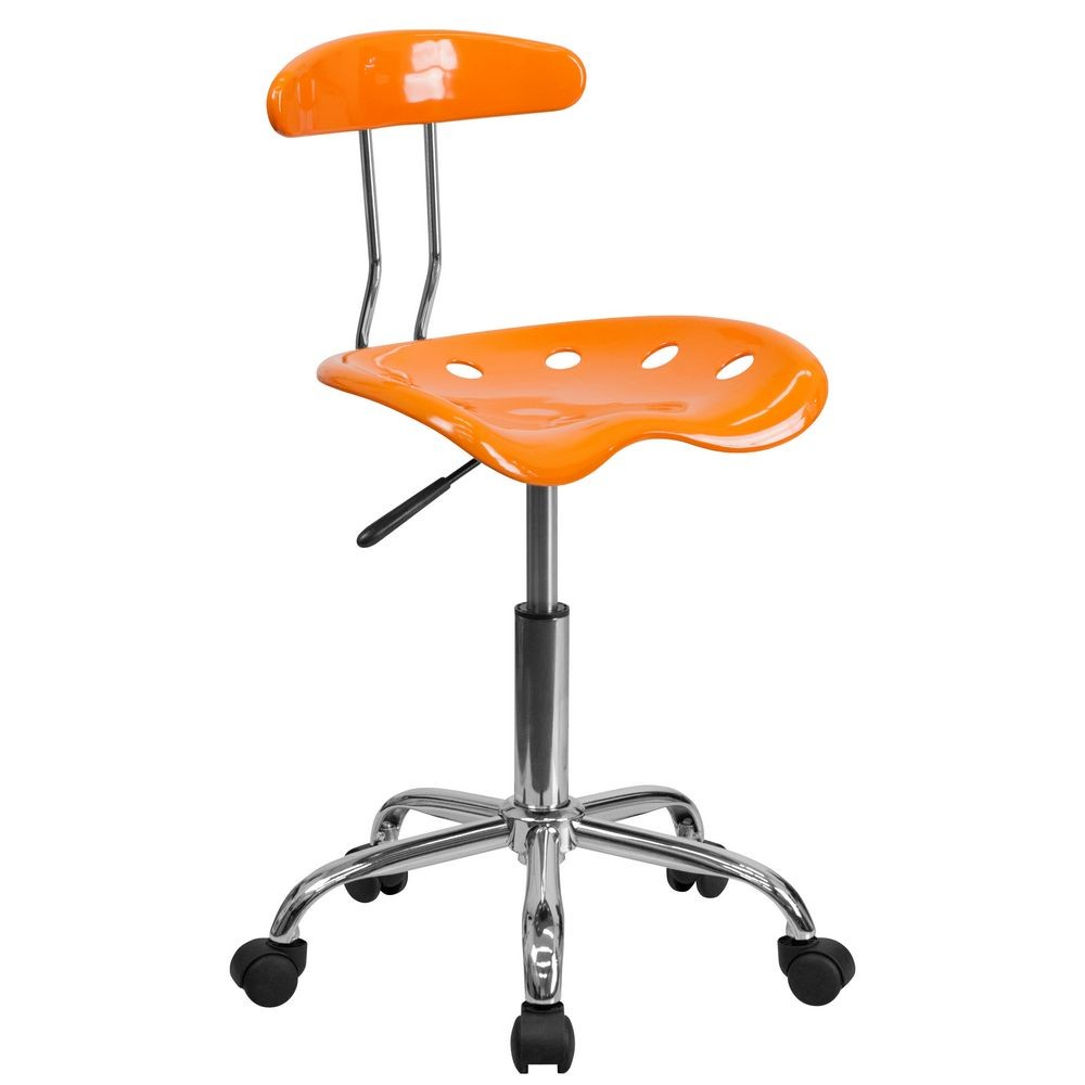 Flash Furniture LF-214-ORANGEYELLOW-GG Vibrant Orange and Chrome Computer Task Chair with Tractor Seat