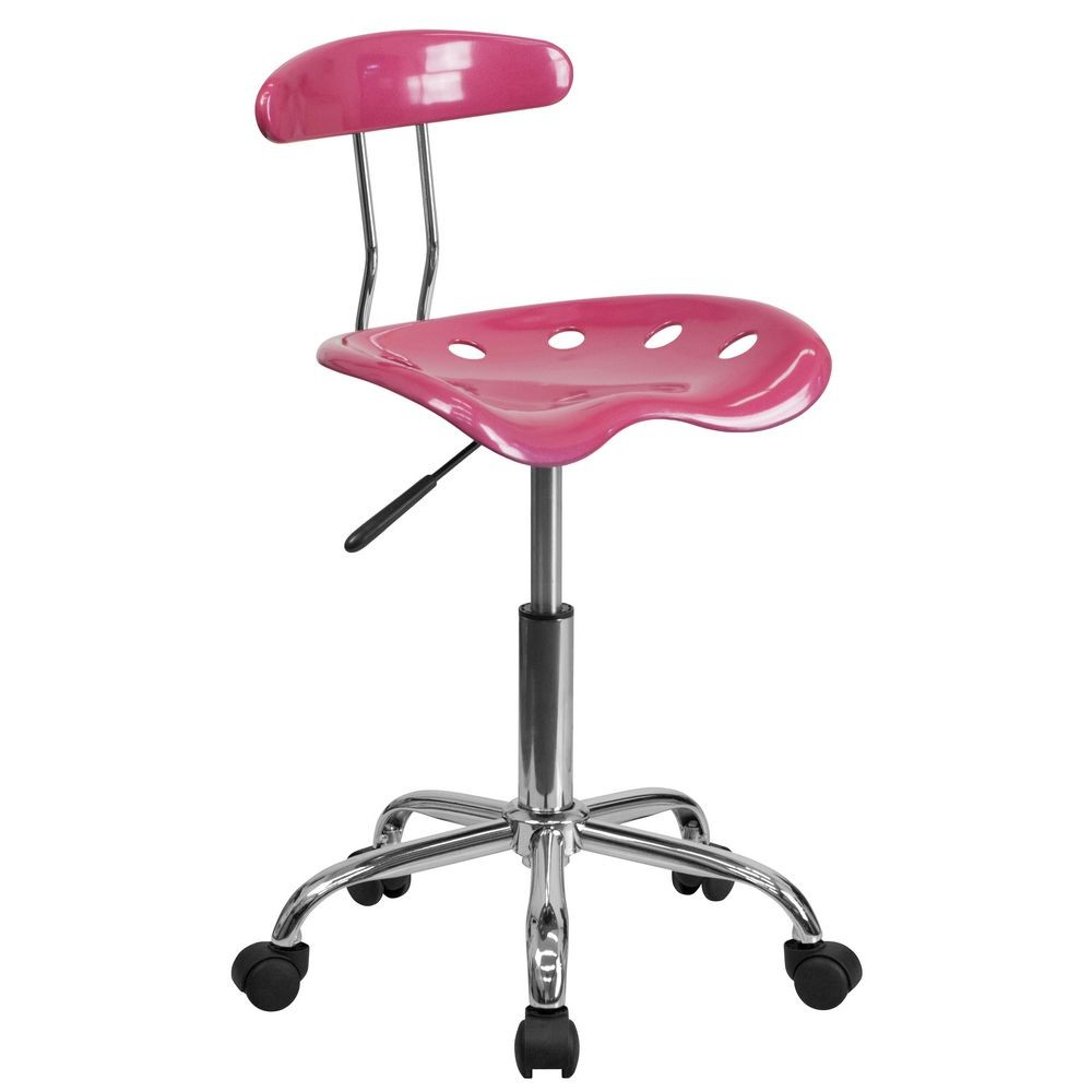 Flash Furniture LF-214-PINK-GG Vibrant Pink and Chrome Computer Task Chair with Tractor Seat