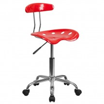 Flash Furniture LF-214-RED-GG Vibrant Red and Chrome Computer Task Chair with Tractor Seat