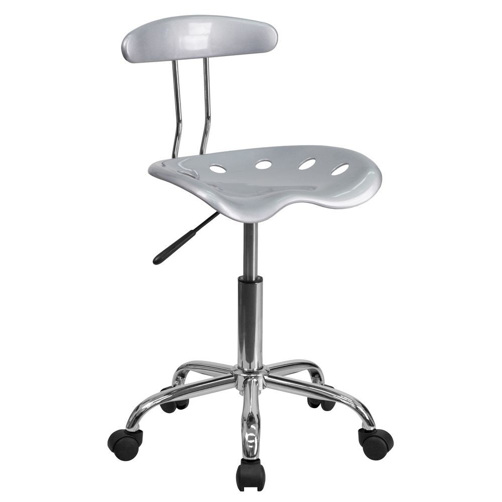 Flash Furniture LF-214-SILVER-GG Vibrant Silver and Chrome Computer Task Chair with Tractor Seat