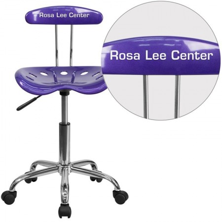 Flash Furniture LF-214-VIOLET-GG Vibrant Violet and Chrome Computer Task Chair with Tractor Seat