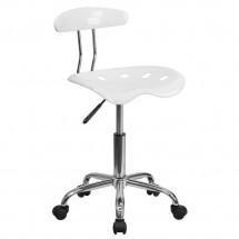 Flash Furniture LF-214-WHITE-GG Vibrant White and Chrome Computer Task Chair with Tractor Seat