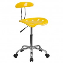 Flash Furniture LF-214-YELLOW-GG Vibrant Orange-Yellow and Chrome Computer Task Chair with Tractor Seat