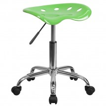 Flash Furniture LF-214A-APPLEGREEN-GG Vibrant Apple Green Tractor Seat and Chrome Stool