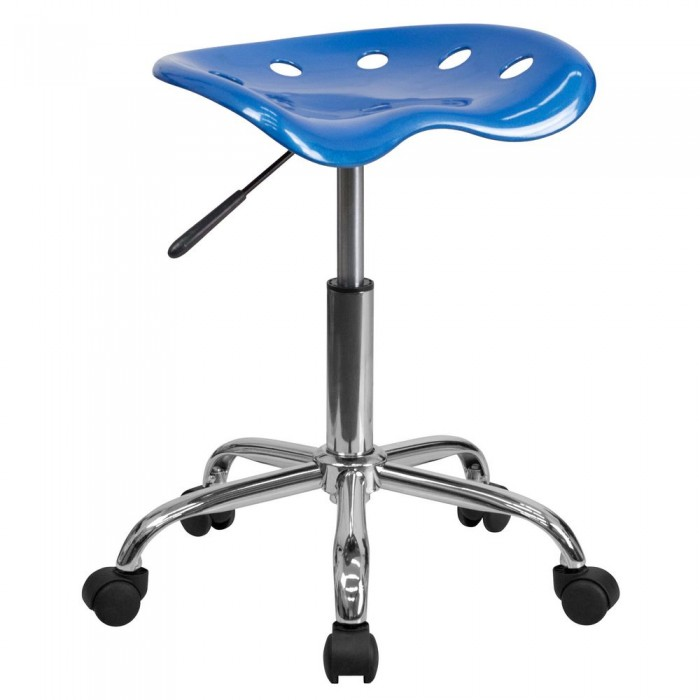 Flash Furniture LF-214A-BRIGHTBLUE-GG Vibrant Bright Blue Tractor Seat and Chrome Stool