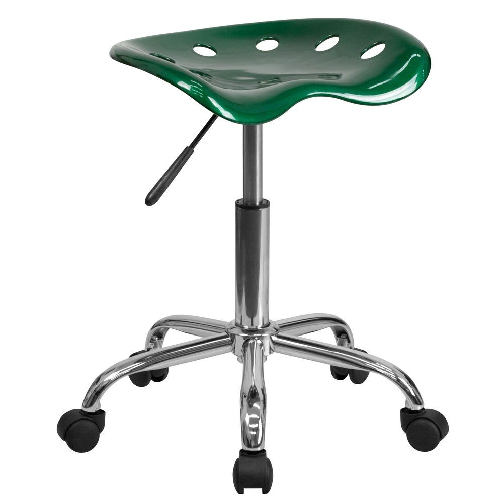 Flash Furniture LF-214A-GREEN-GG Vibrant Green Tractor Seat and Chrome Stool