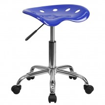 Flash-Furniture-LF-214A-NAUTICALBLUE-GG-Vibrant-Nautical-Blue-Tractor-Seat-and-Chrome-Stool