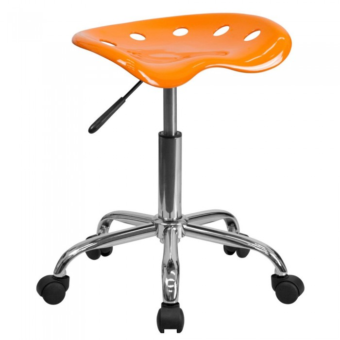 Flash Furniture LF-214A-ORANGEYELLOW-GG Vibrant Orange Tractor Seat and Chrome Stool