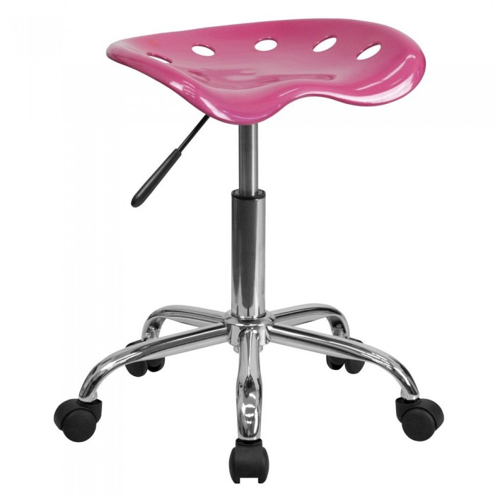 Flash Furniture LF-214A-PINK-GG Vibrant Pink Tractor Seat and Chrome Stool