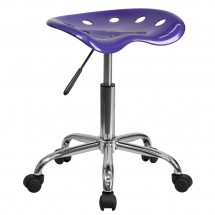 Flash Furniture LF-214A-VIOLET-GG Vibrant Violet Tractor Seat and Chrome Stool