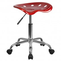 Flash Furniture LF-214A-WINERED-GG Vibrant Wine Red Tractor Seat and Chrome Stool