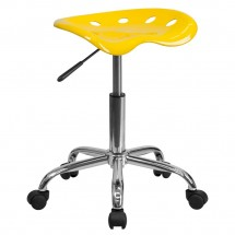 Flash Furniture LF-214A-YELLOW-GG Vibrant Orange-Yellow Tractor Seat and Chrome Stool