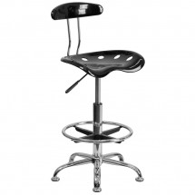 Flash Furniture LF-215-BLK-GG Vibrant Black and Chrome Drafting Stool with Tractor Seat