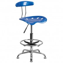 Flash Furniture LF-215-BRIGHTBLUE-GG Vibrant Bright Blue and Chrome Drafting Stool with Tractor Seat