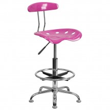 Flash Furniture LF-215-CANDYHEART-GG Vibrant Candy Heart and Chrome Drafting Stool with Tractor Seat