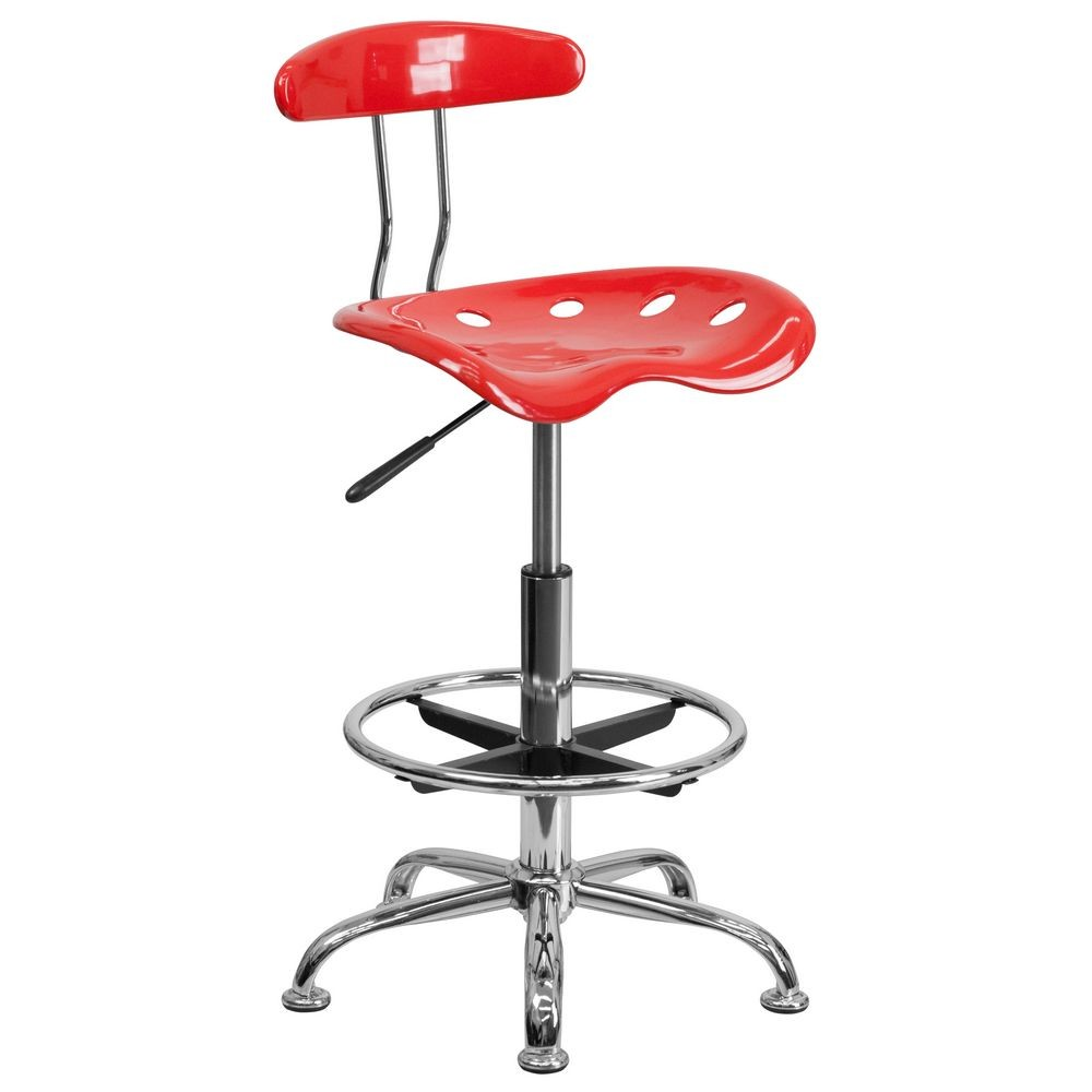Flash Furniture LF-215-CHERRYTOMATO-GG Vibrant Cherry Tomato and Chrome Drafting Stool with Tractor Seat