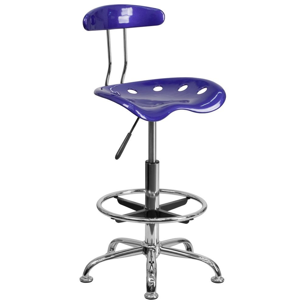 Flash Furniture LF-215-DEEPBLUE-GG Vibrant Deep Blue and Chrome Drafting Stool with Tractor Seat