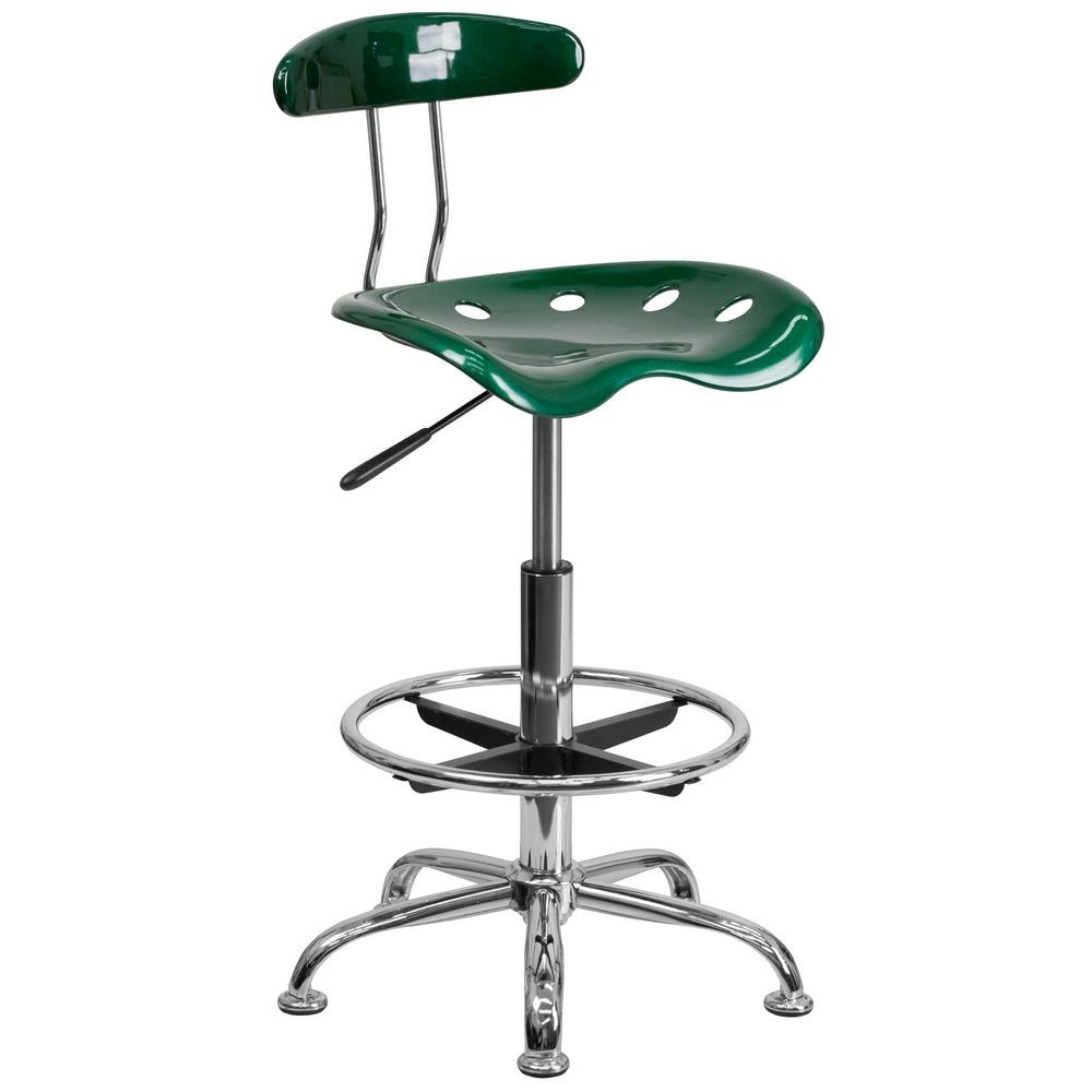 Flash Furniture LF-215-GREEN-GG Vibrant Green and Chrome Drafting Stool with Tractor Seat