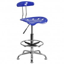 Flash Furniture LF-215-NAUTICALBLUE-GG Vibrant Nautical Blue and Chrome Drafting Stool with Tractor Seat