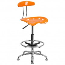 Flash Furniture LF-215-ORANGEYELLOW-GG Vibrant Orange and Chrome Drafting Stool with Tractor Seat