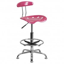 Flash Furniture LF-215-PINK-GG Vibrant Pink and Chrome Drafting Stool with Tractor Seat
